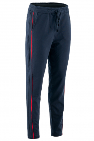 Pantaloni damă, LAZO LINE, Bleumarin cu rosu0
