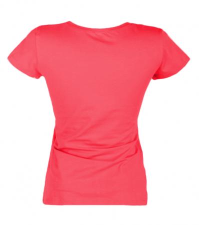 Tricou de dama, simplu din bumbac, corai2