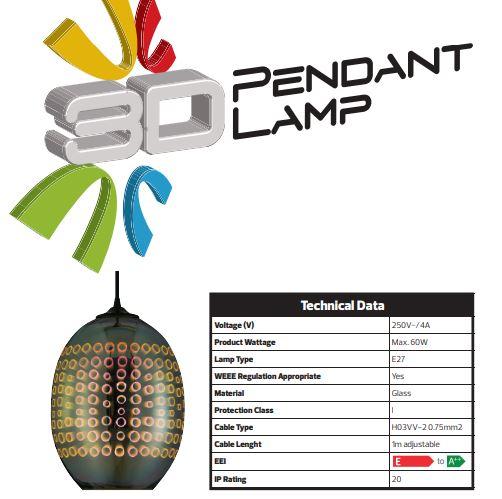 Pendul Sticla 3D, Oval, SLC Radian, E27 [2]