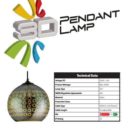 Pendul Sticla 3D, Sferic, SLC Radian, E27 [2]