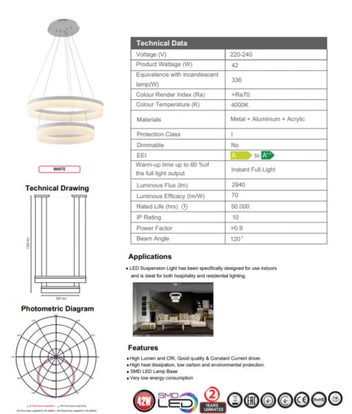 Candelabru LED 2 Cercuri SLC Master, 42W [1]