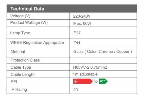 Pendul Sticla 3D, SLC Meteor2/COPPER/CHROME, E27 [2]
