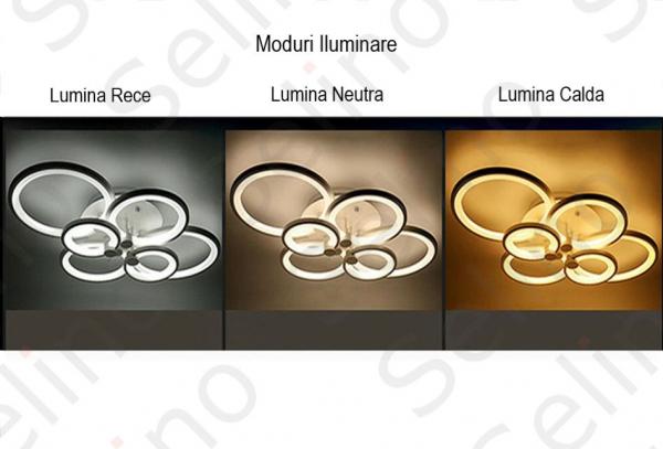 Lustra LED Circle Design, SLC, Dreptunghiulara 6 Coffee cu telecomanda [2]