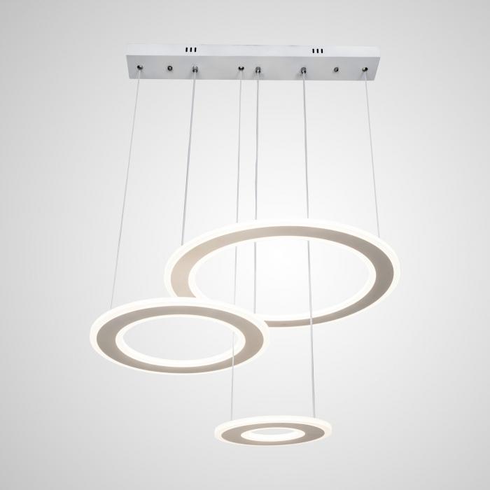 Lustra LED Circle Suspendata Numva 3 Alba cu Telecomanda [0]