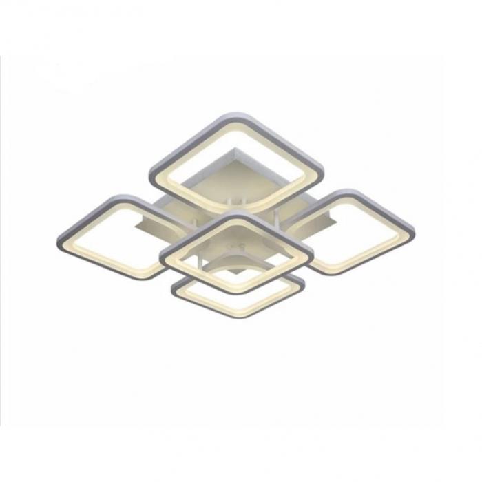 Lustra LED integrat SLC Selino Concept Quadrato 4+1, 76-152W, cu aplicatie telefon, telecomanda, lumina calda/neutra/rece, intensitate reglabila, 39 cm, Alb [0]