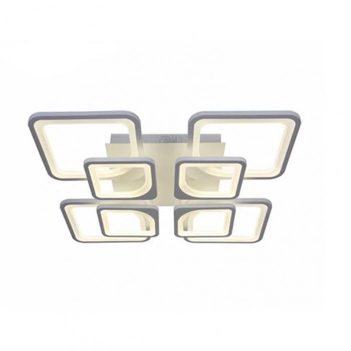 Lustra LED integrat SLC Selino Concept Quadrato 4+4, 108-216W, cu aplicatie telefon, telecomanda, lumina calda/neutra/rece, intensitate reglabila, 59 cm, Alb [0]