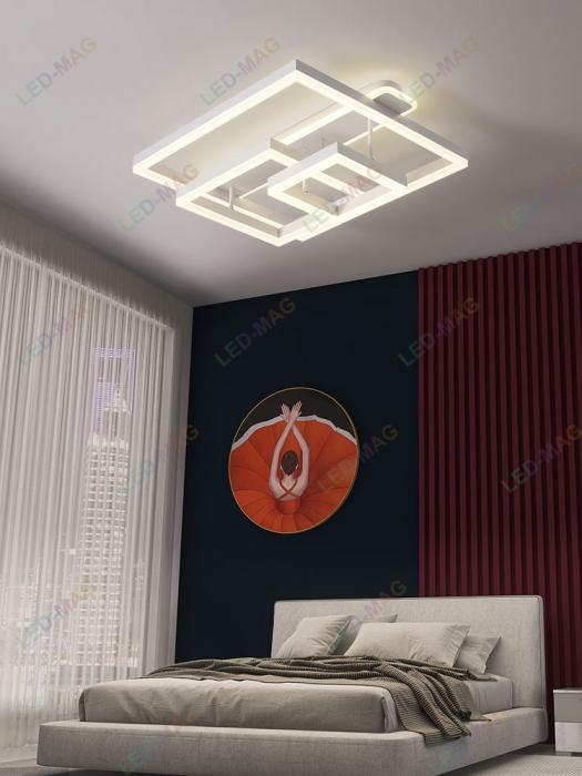 Lustra LED Numva Square Alba 3+1 cu Telecomanda [0]
