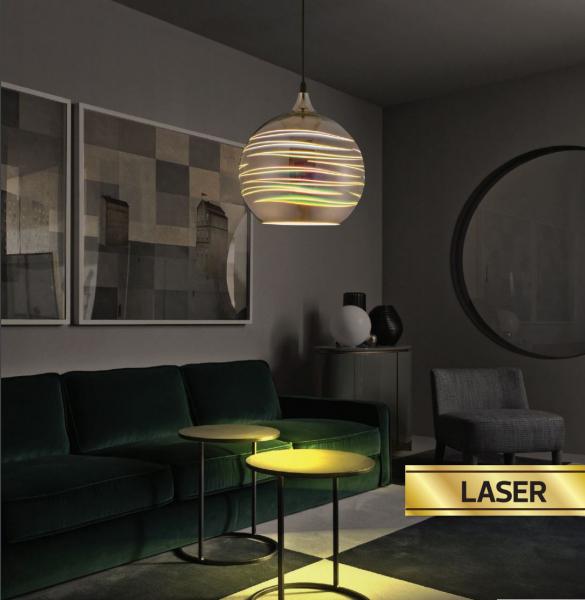 Pendul Sticla 3D, Sferic, SLC Laser, E27 [1]