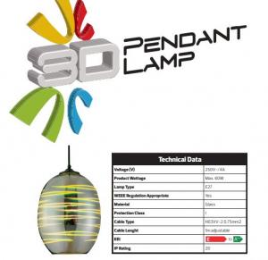 Pendul Sticla 3D, Oval, SLC Laser, E27 [2]