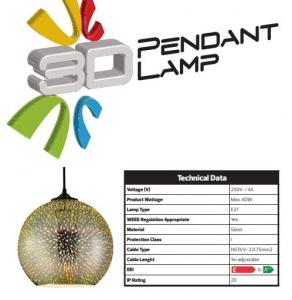 Pendul Sticla 3D, Sferic, SLC Quantum/Chrome, E27 [2]