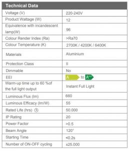 Spot led incastrat Slim 12W, 2700k [2]