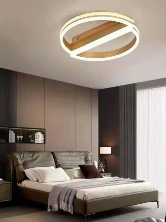 Lustra Led Numva Half Circle Gold SLC Selino Concept  cu telecomanda intensitate reglabila si 3 tipuri de lumina calda/rece/neutra