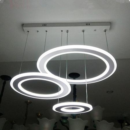 Lustra LED Circle Suspendata Numva 3 Alba cu Telecomanda [1]