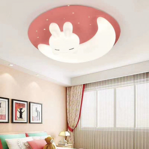 Plafoniera led camera copil  roz forma semiluna cu telecomanda [0]