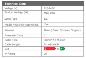 Pendul Sticla 3D, SLC Meteor1/COPPER/CHROME, E27 [2]