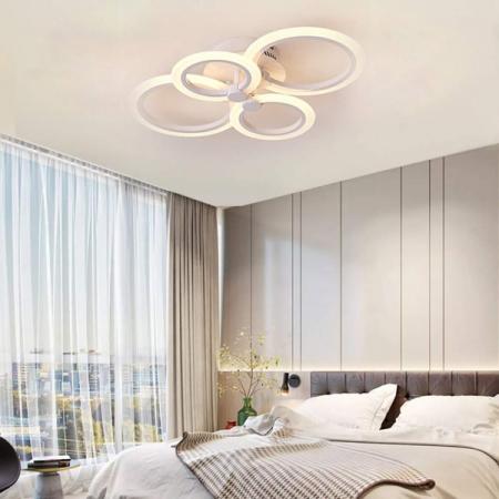 Lustra LED integrat SLC Selino Concept Rondo 2+2, 36-72W, cu aplicatie telefon, telecomanda, lumina calda/neutra/rece, intensitate reglabila, 56 cm, Alb [2]