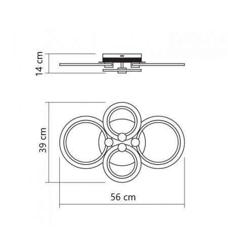 Lustra LED integrat SLC Selino Concept Rondo 2+2, 36-72W, cu aplicatie telefon, telecomanda, lumina calda/neutra/rece, intensitate reglabila, 56 cm, Alb [3]