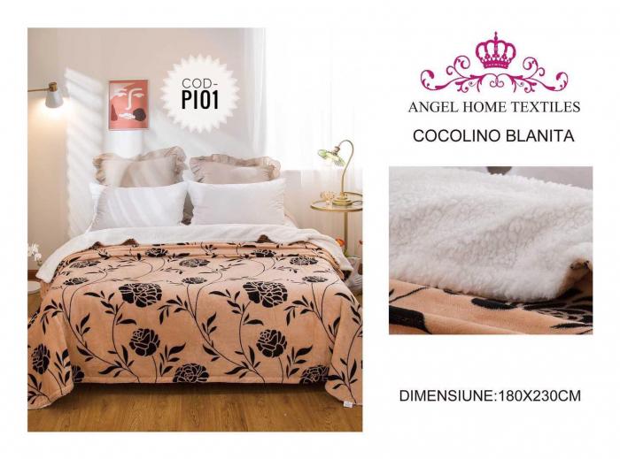 Pătură Cocolino, Îmblănită, Bej, Floral, 200x230 [0]