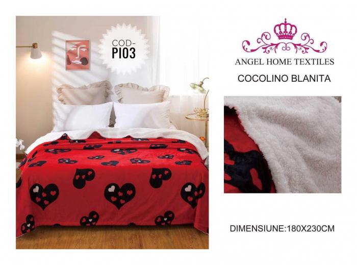 Pătură Cocolino, Îmblănită, Roșu, Inimi, 200x230 [0]