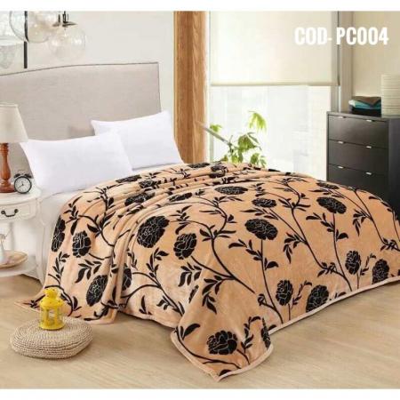 Pătură pufoasă de tip cocolino, Bej, Floral, 200x230 [0]