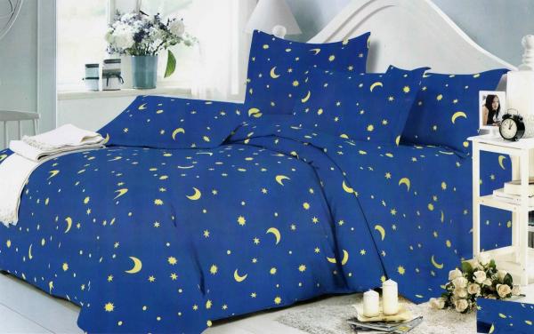 1+1 Gratis Lenjerie de pat bumbac satinat albastra cu stelute 0