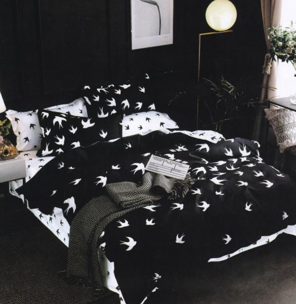 Lenjerie de pat 100% bumbac Finet gros 6 piese negru cu fluturi 0