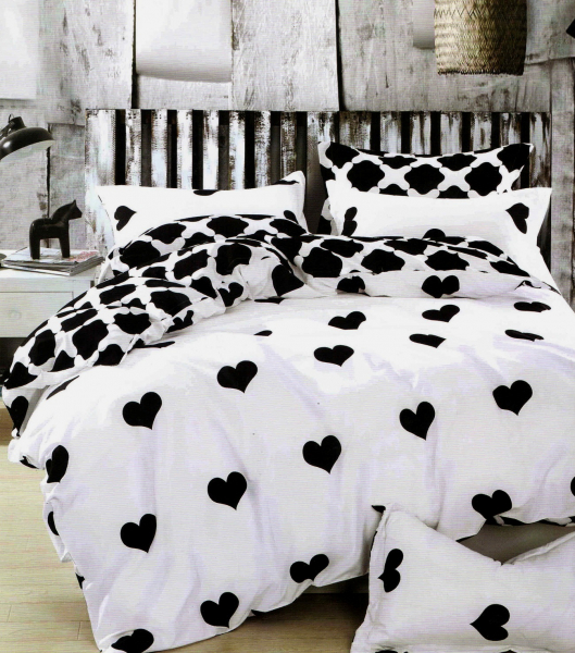 1+1 gratis lenjerie de pat  bumbac satinat alba cu inimioare negre