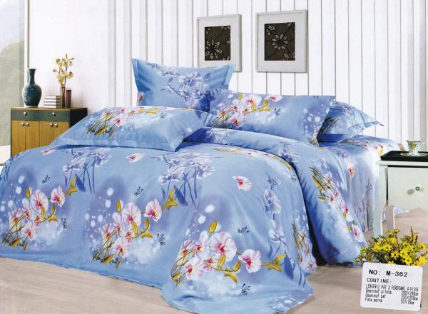Lenjerie de pat Casa New Fashion bleu flori 0