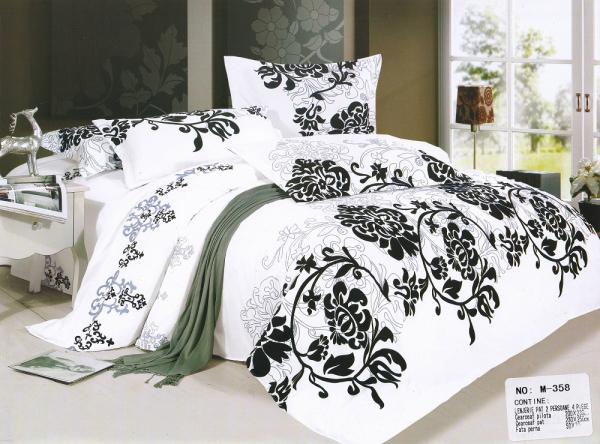 Lenjerie de pat Casa New Fashion alba cu imprimeu negru 0