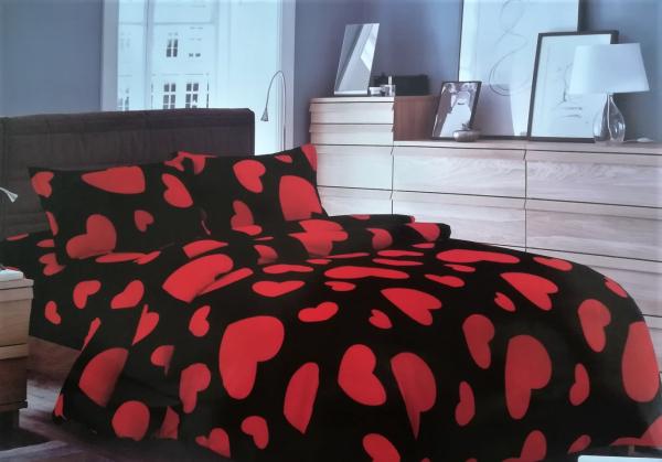 Lenjerie de pat cocolino cu inimioare rosii