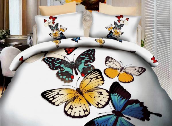 Lenjerie de pat dublu bumbac Print Butterflies 0