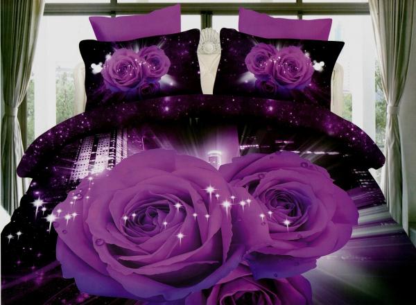 Lenjerie de pat dublu bumbac Print 3D Purple Roses