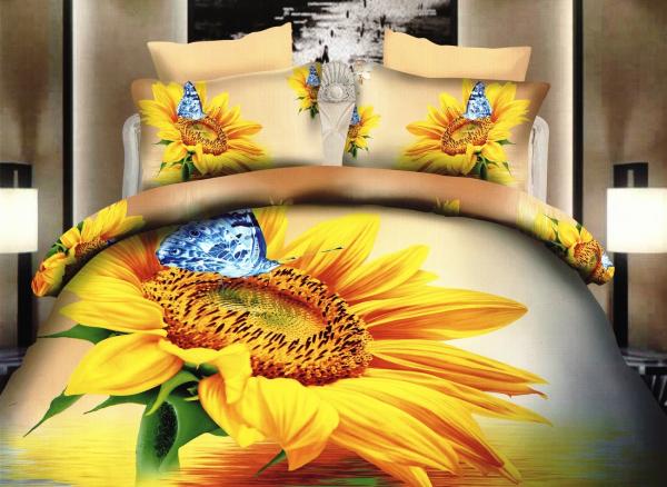 Lenjerie de pat dublu bumbac Print 3D Sunflowers 0