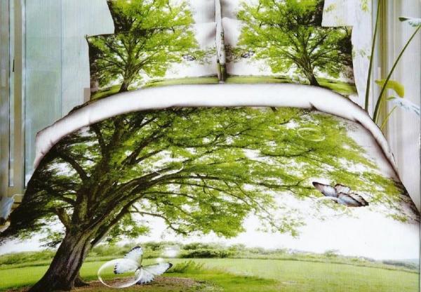 Lenjerie de pat dublu bumbac Print 3D Tree