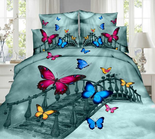 Lenjerie de pat dublu bumbac Print Butterfly on the bridge 0