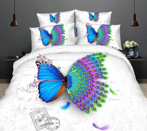 Lenjerie de pat dublu bumbac Print Butterfly peacock 0