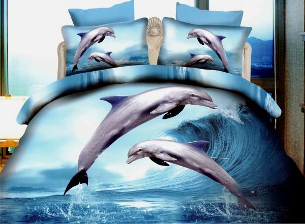 Lenjerie de pat dublu bumbac Print Dolphins