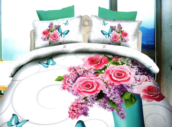 Lenjerie de pat dublu bumbac Print Liliac flowers 0