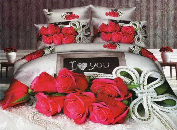 Lenjerie de pat dublu bumbac Print Love Rose 0
