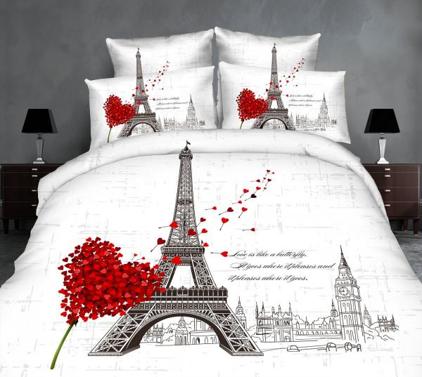 Lenjerie de pat dublu bumbac Print Paris Love v2 0