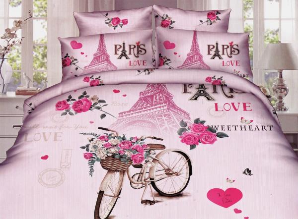 Lenjerie de pat dublu bumbac Print Paris Love 0