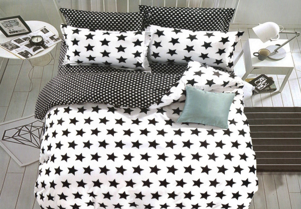 1+1 gratis lenjerie de pat bumbac satinat alba cu stelute
