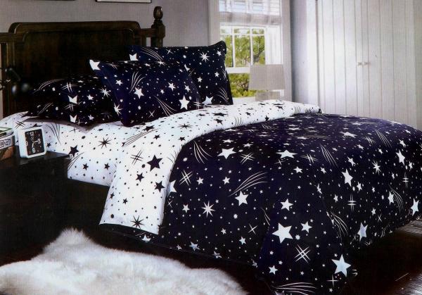 1+1 Gratis lenjerie de pat bumbac satinat albastra cu stelute Aias 0