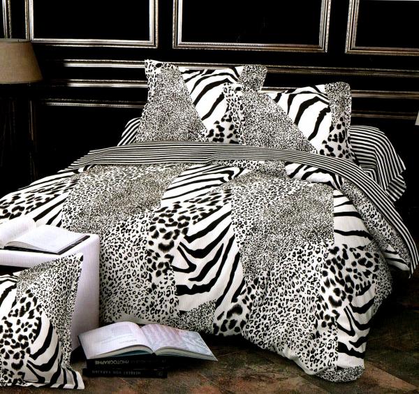1+1 gratis lenjerie de pat bumbac satinat Zebra