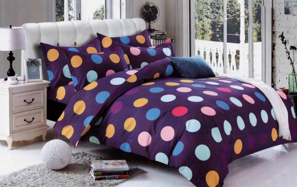 1+1 gratis Lenjerie de pat bumbac satinat cu buline colorate