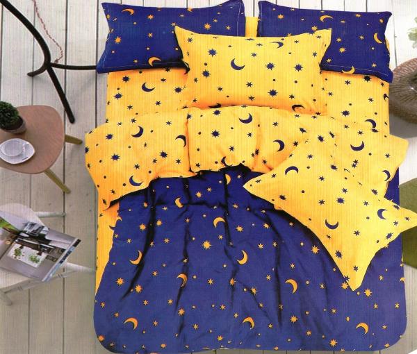 1+1 gratis Lenjerie de pat bumbac satinat 2 culori galben cu albastru 0