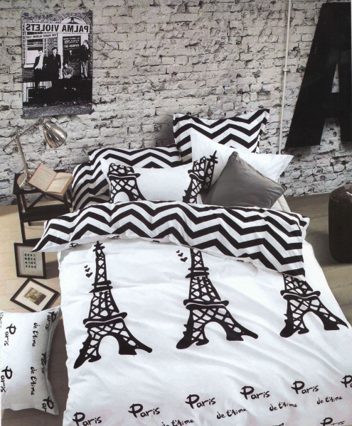 Lenjerie de pat Elvo bumbac satinat Paris cu dungi 0