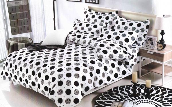 1+1 gratis Lenjerie de pat bumbac satinat alba cu buline negre 0