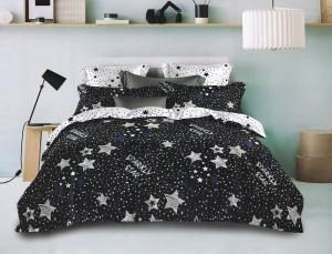 1+1 Gratis lenjerie de pat bumbac satinat superior Luna cu doua fete