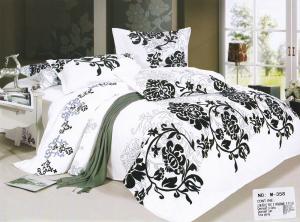 Lenjerie de pat Casa New Fashion alba cu imprimeu negru0